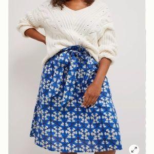NWT Anthropologie Lanai Midi Skirt Blue Motif XL